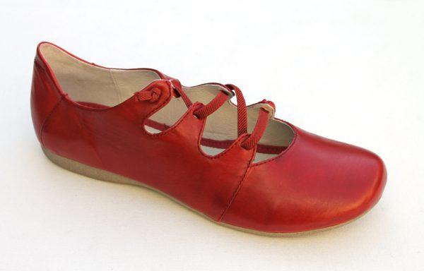 JSD006 Josef Seibel ballerina met elastische bandjes rood leer