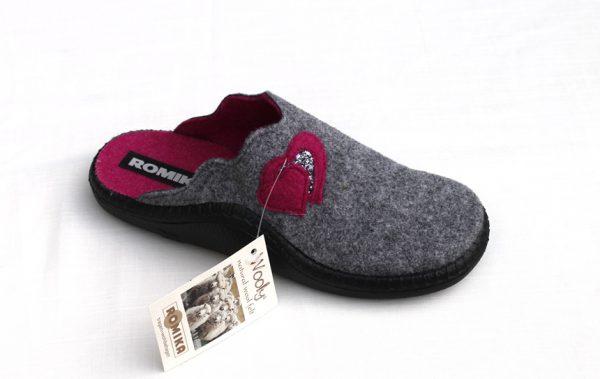 "WP010 Romika slipper ""Mokasso 19"" grijs met roze hartjes"
