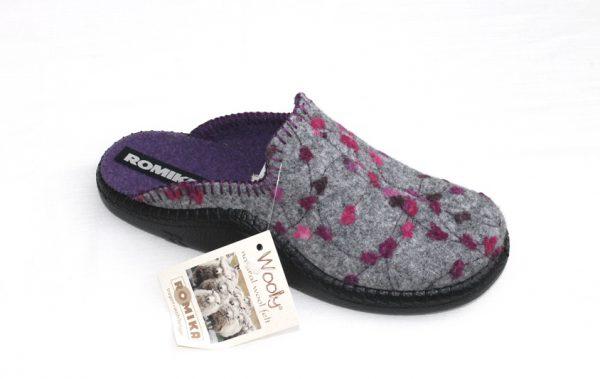 "WP009 Romika slipper ""Mokasso 139"" grijs fantasie woollite stof"