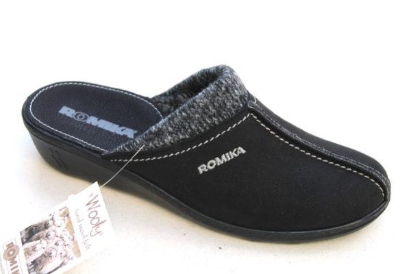 "WP018 Romika slipper ""Romilastic 308"" zwart alcantara"