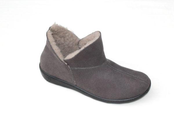 """WP026 Romika dichte pantoffel """"Romilastic 128"""" grijs alcantara schapenwol gevoerd"""