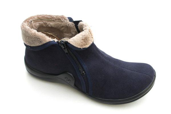 "WP030 Romika dichte pantoffel ""Maddy"" met rits donkerblauw alcantara"
