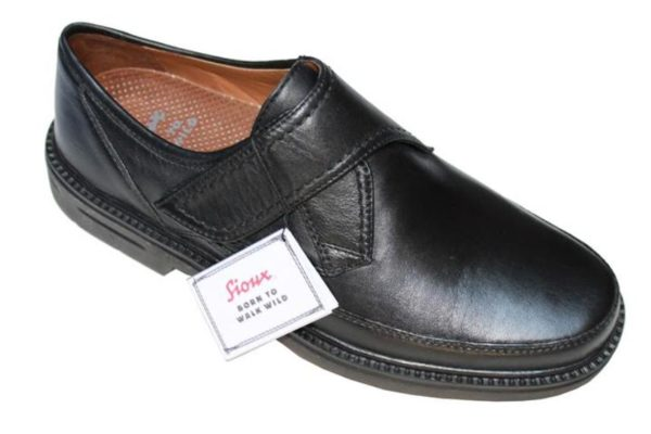 SH039 Sioux semi-geklede klittenbandschoen zwart leer