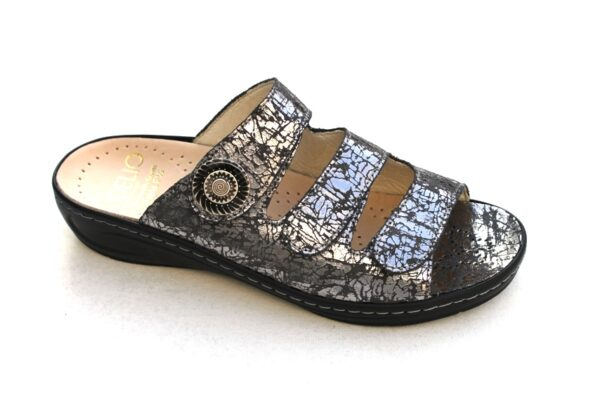 Fidelio verstelbare klittenband slipper in antracietzilver metallic