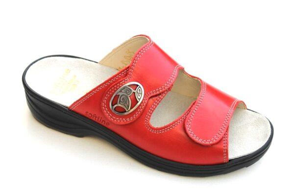 """F019 Fidelio """"Softline"""" verstelbare klittenband slipper rood leer"""