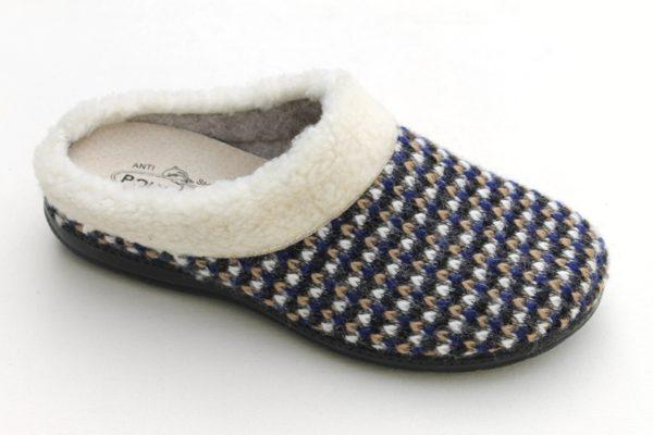 DP002 Dames pantoffel slipper blauw/offwhite gebreid