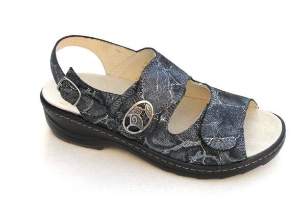 Fidelio softline verstelbare klittenband sandaal zwart blauw gemarmerd fantasieprint