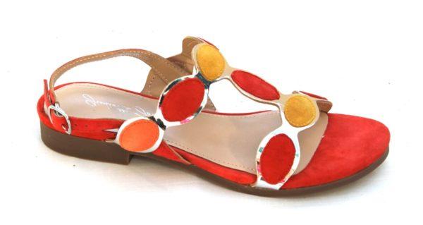 """OVD001 Dames sandaaltje van """"Giulietta Jones"""" in koraal/okergeel suède"""