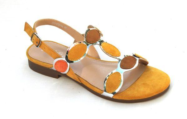 """OVD002 Dames sandaaltje """"Giulietta Jones"""" okergeel suède combinatie"""