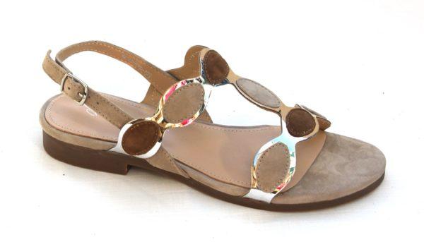 "Dames sandaaltje ""Giulietta Jones"" taupe/bruin suède combinatie"
