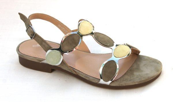 """OVD004 Dames sandaaltje """"Giulietta Jones"""" mosgroen suède combinatie"""