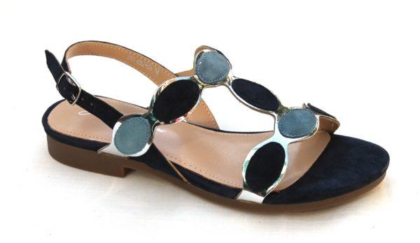 """Dames sandaaltje """"Giulietta Jones"""" blauw suède combinatie"""