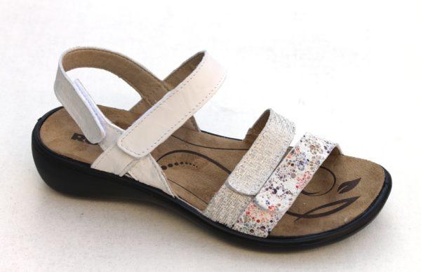 "WS007 Westland (Romika) verstelbare klittenband sandaal ""Ibiza"" wit fantasieprint"