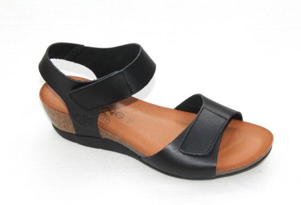 """Dames sleehak sandaaltje van """"Take Me"""" zwart leer"""
