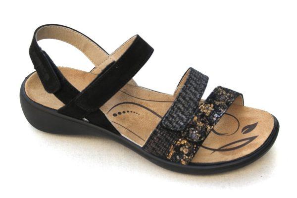 "WS008 Westland (Romika) verstelbare klittenband sandaal ""Ibiza"" zwart fantasieprint"