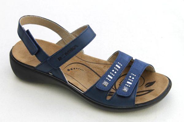 "WS005 Westland (Romika) verstelbare klittenband sandaal ""Ibiza"" blauw leer"