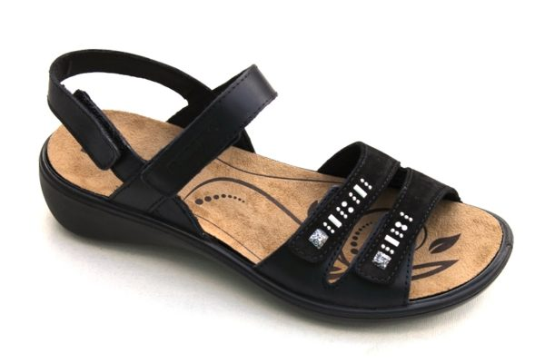 Westland Romika verstelbare klittenband sandaal Ibiza zwart leer