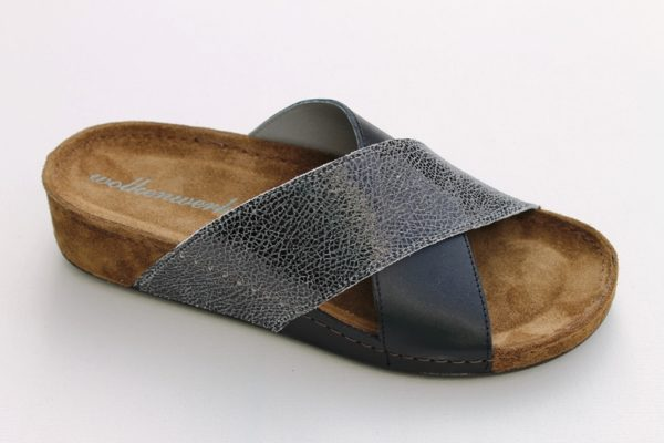 "Dames kruisband voetbedslipper van ""Wolkenwerk"" in zwart/antracietzilver"
