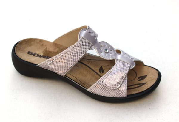 "WS011 Westland (Romika) verstelbare klittenband slipper ""Ibiza"" zacht lila glansprint"