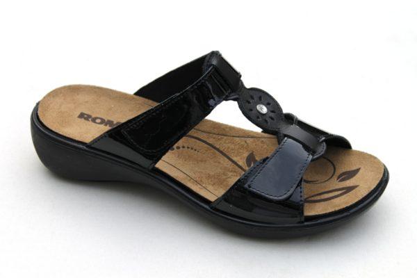 "WS012 Westland (Romika) verstelbare klittenband slipper ""Ibiza"" zwart lak"