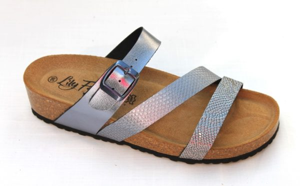 Dames slipper met verstelbare wreefband antracietzilver metallic