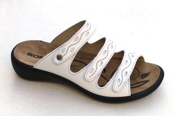 "WS001 Westland (Romika) verstelbare klittenband slipper ""Ibiza"" offwhite leer"