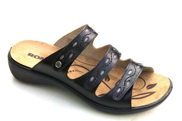 "WS003 Westland (Romika) verstelbare klittenband slipper ""Ibiza"" zwart leer"