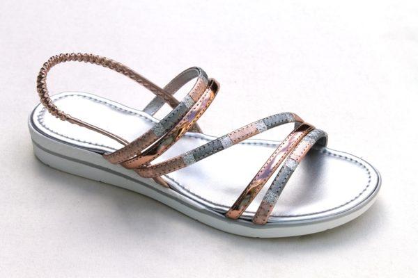 Dames sandaaltje rosé/zilver metallic