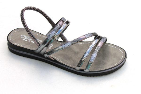 OVD030 Dames sandaaltje antraciet/zilver metallic