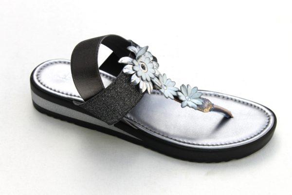 Dames teensandaal met bloemetjes antraciet/zilver metallic
