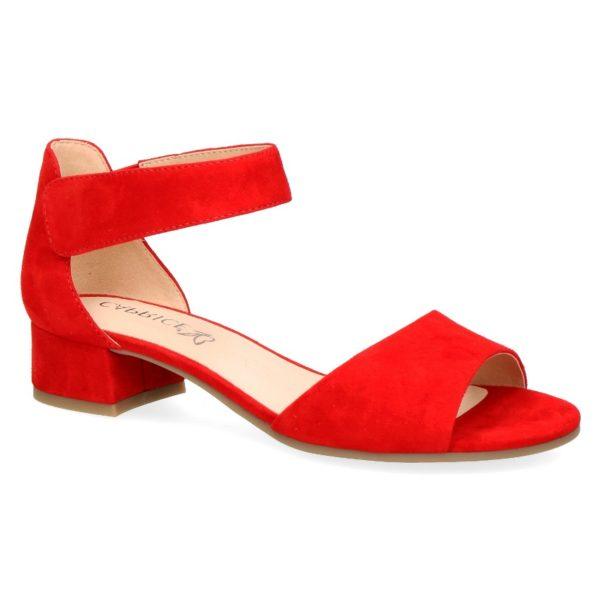 C020 Caprice sandaaltje met dichte hiel rood suède