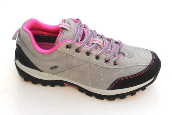 WS030 Romika lage hiking veterschoen grijs suède met roze