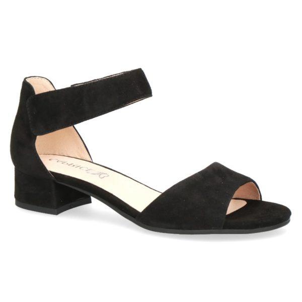 C019 Caprice sandaaltje met dichte hiel zwart suède