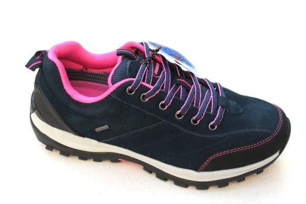 WS031 Romika lage hiking veterschoen donkerblauw suède met roze