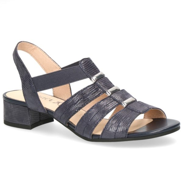 C023 Caprice sandaaltje blauw glans print