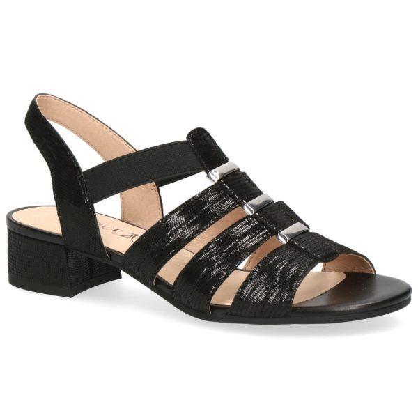 C024 Caprice sandaaltje zwart glans print