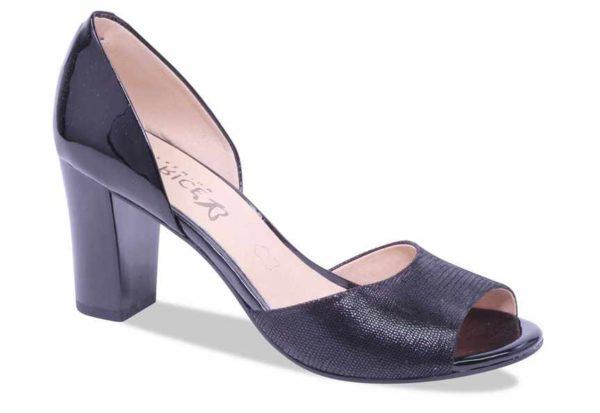 C026 Caprice schoentje met open teen zwart glans fantasieprint