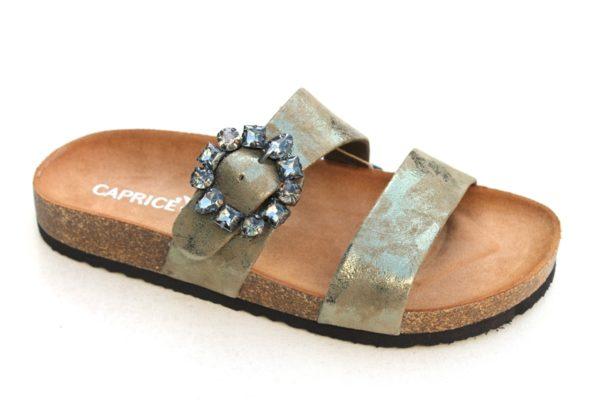 C044 Caprice slipper mosgroen metallic