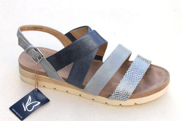 C041 Caprice kruisband sandaaltje blauw metallic combi