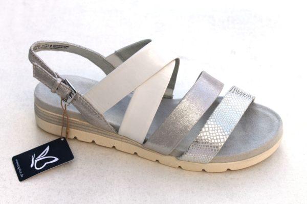 C040 Caprice kruisband sandaaltje wit/zilver combi