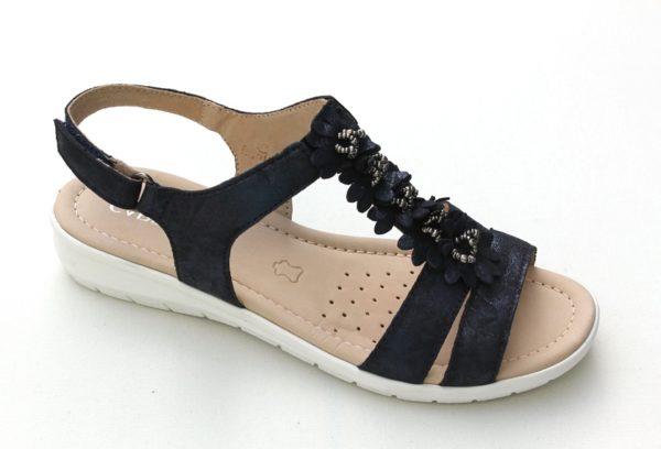 C043 Caprice sandaaltje donkerblauw metallic