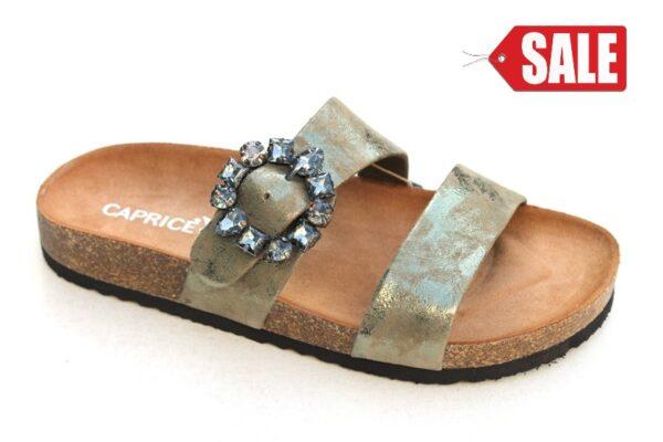 Caprice slipper bronsgroen metallic