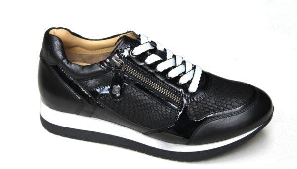 H006 Helioform sneaker met ritsje in zwart leer/lak combinatie