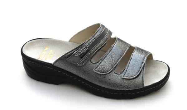 """F018 Fidelio """"Softline"""" verstelbare klittenband slipper zilver metallic"""