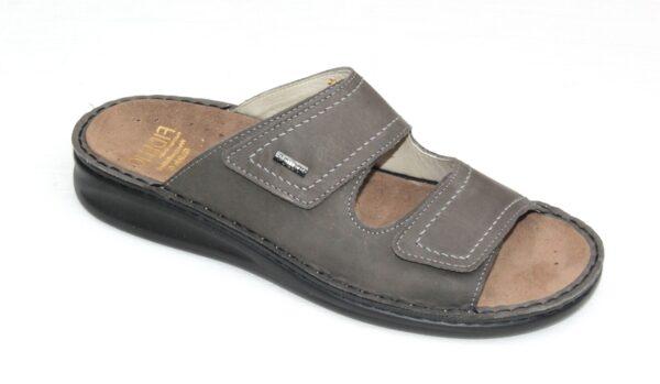 Fidelio verstelbare heren klittenband voetbedslipper grijs nubuck