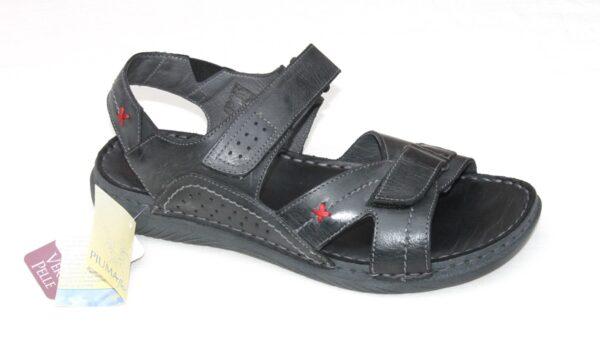 OVH002 Heren sandaal zwart leer
