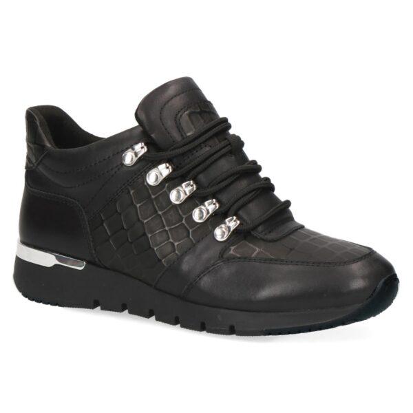 C010 Caprice sneaker half hoog zwart leer