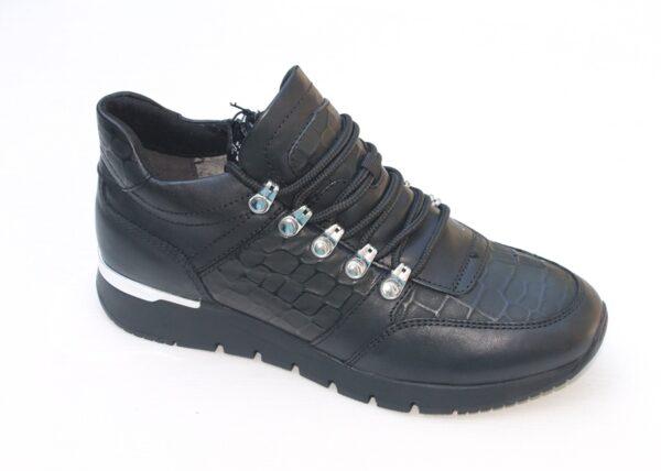 C003 Caprice sneaker half hoog zwart leer