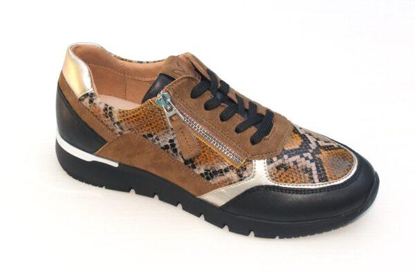 C001 Caprice sneaker zwart cognac met pythonprint