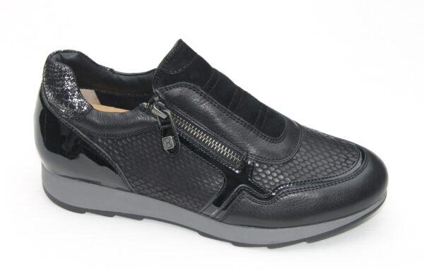 Helioform instapsneaker met ritsje zwart leer